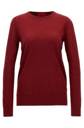 Maglione in raffinata lana merino, Rosso scuro
