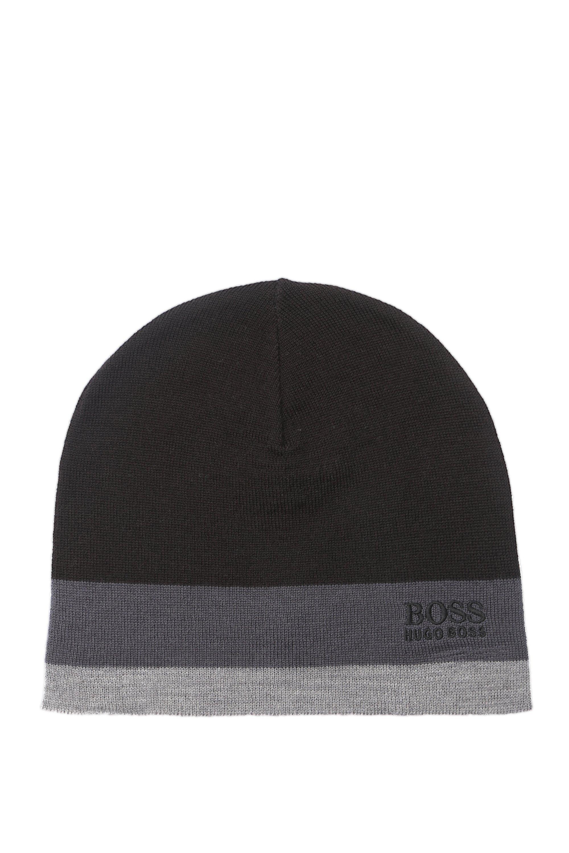 Bonnet color block en laine mélangée, Noir