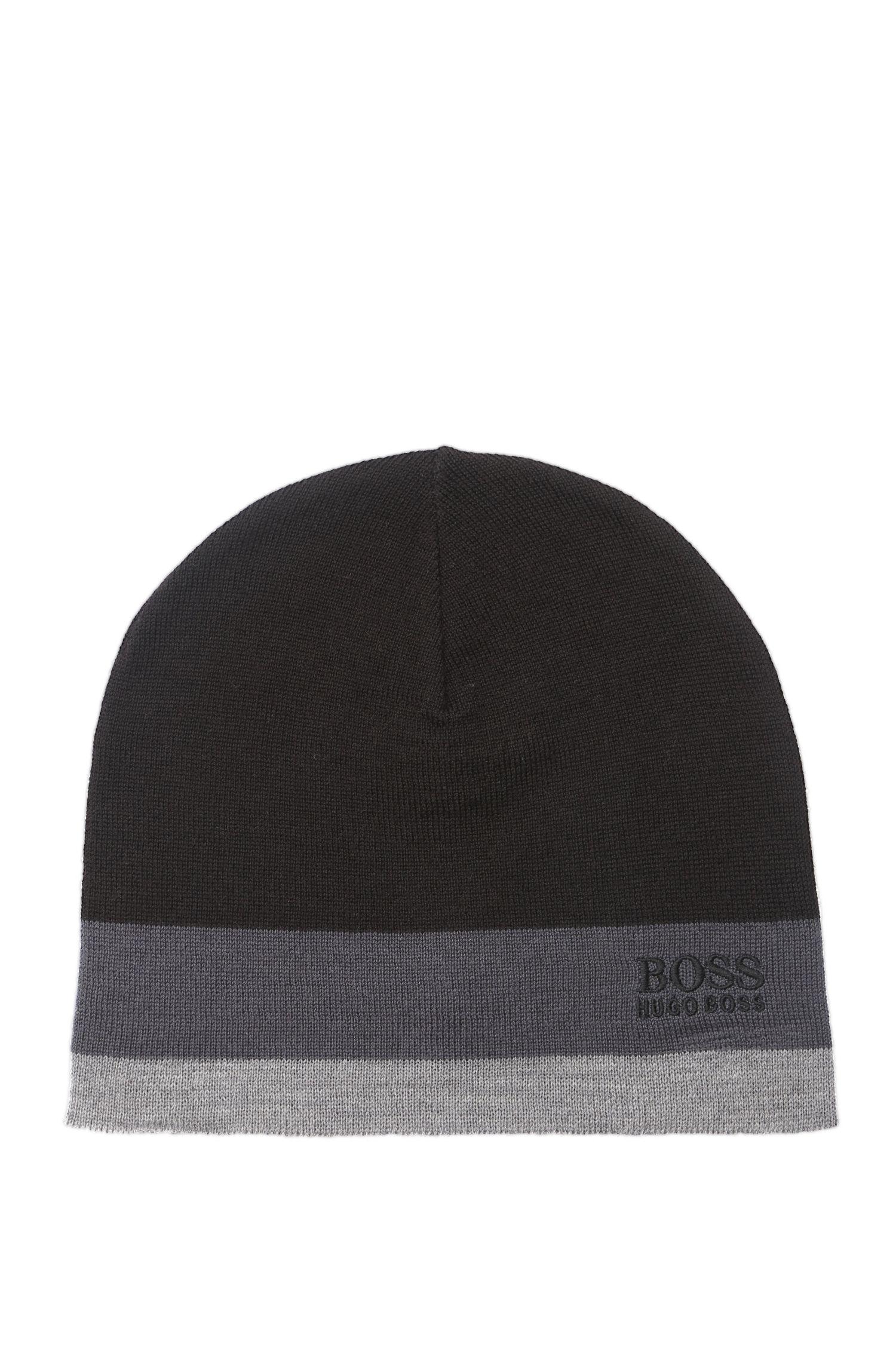 Colourblock beanie hat in wool blend