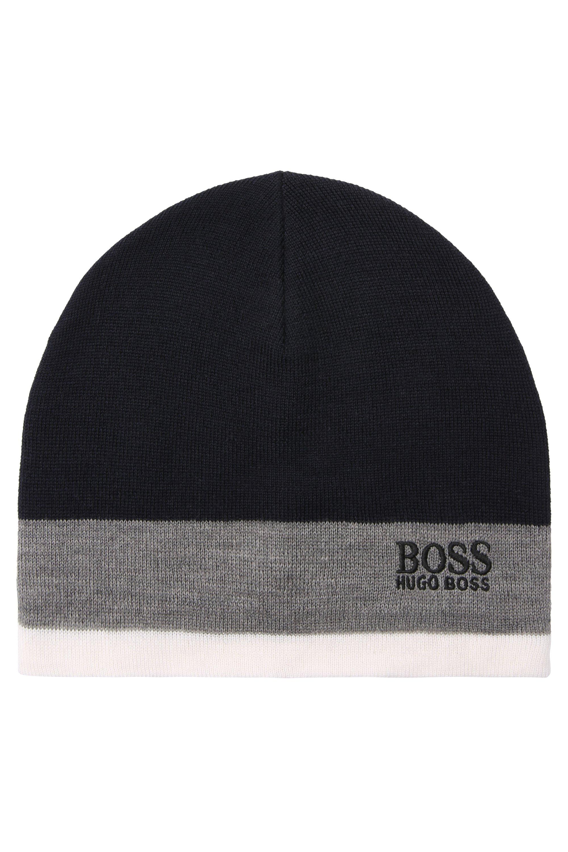 Mütze aus Woll-Mix im Colour-Block-Design, Dunkelblau