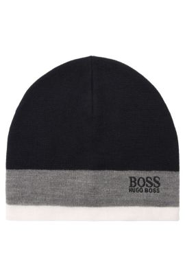 Colourblock beanie hat in wool blend, Dark Blue