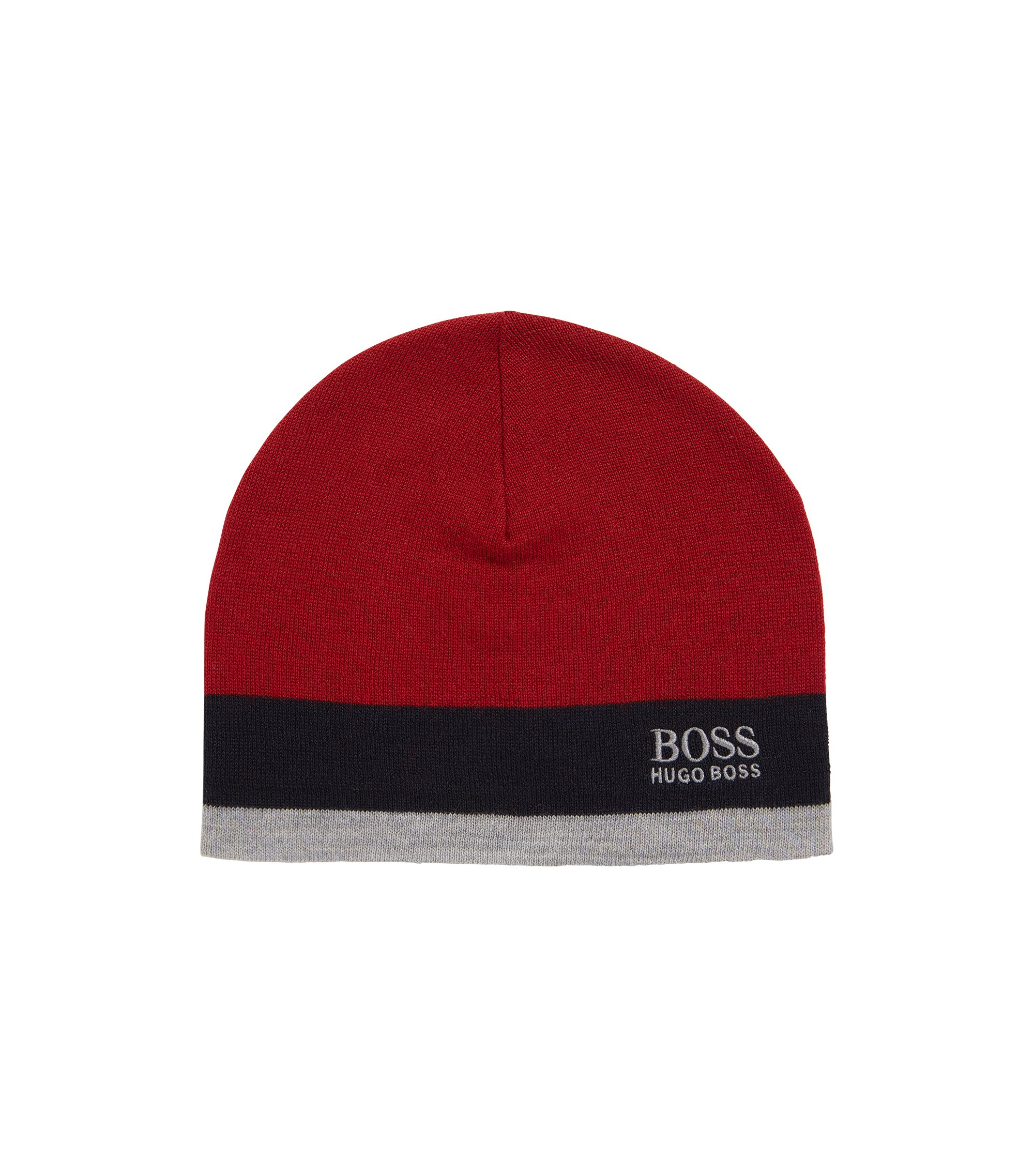 Colourblock beanie hat in wool blend, Red