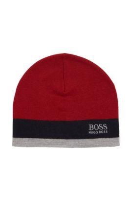 Bonnet color block en laine mélangée, Rouge