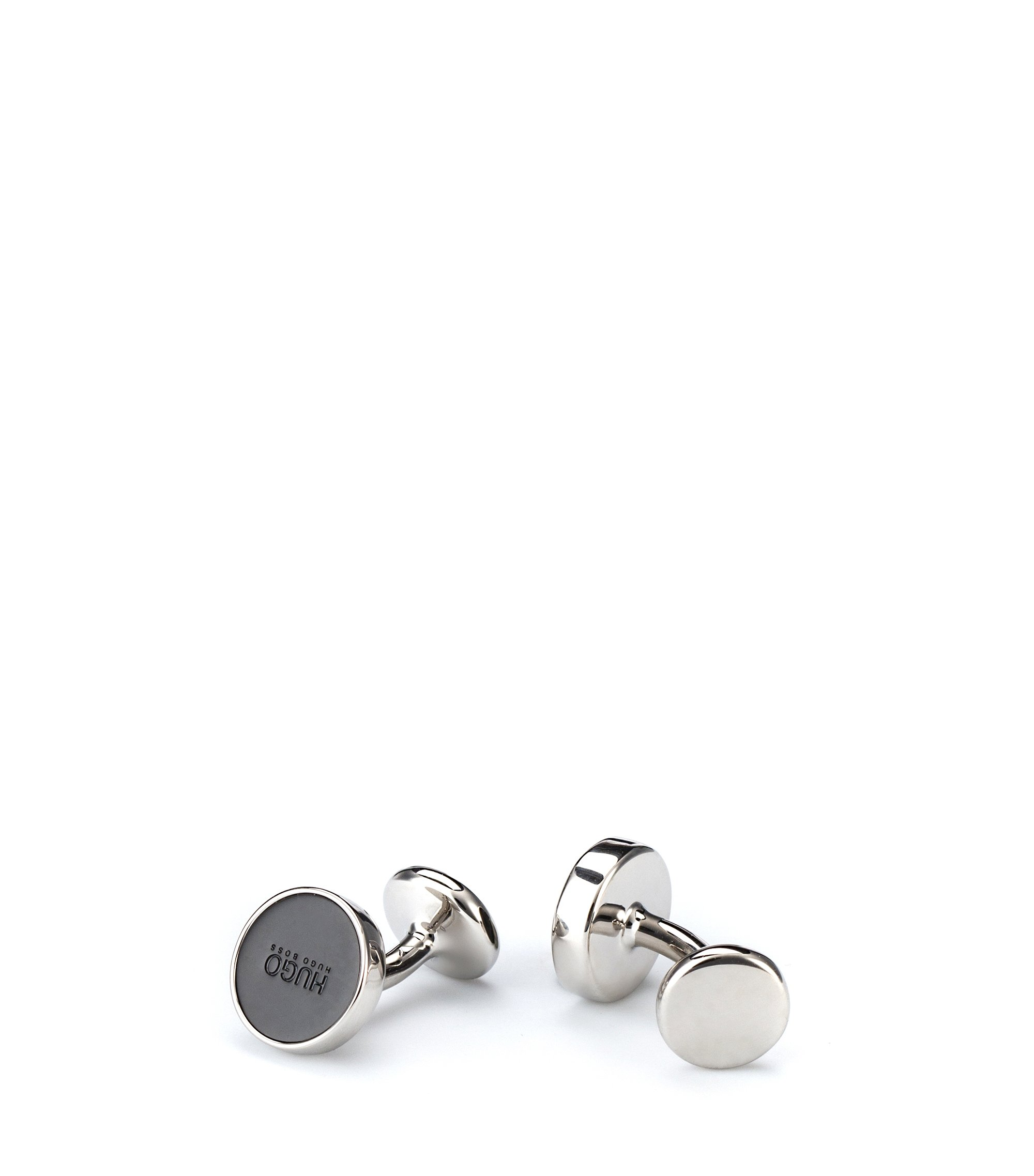 Round cufflinks with enamel core, Black