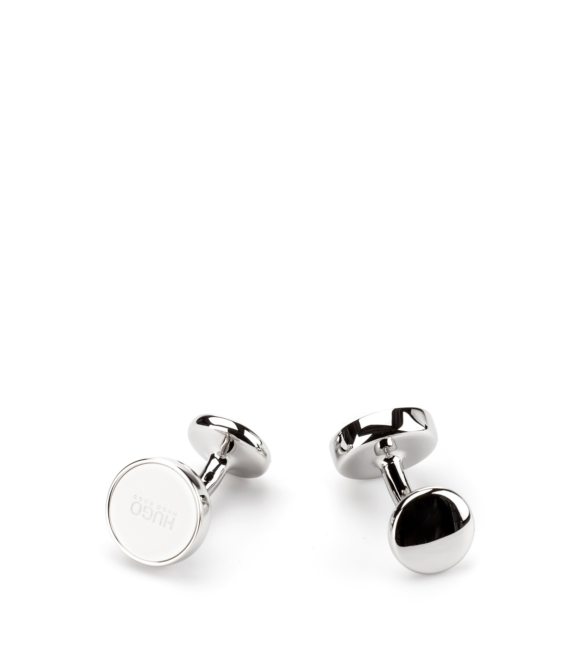 Round cufflinks with enamel core, Open White