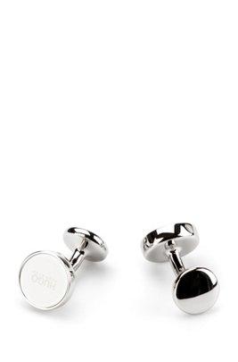 Round cufflinks with enamel core, White