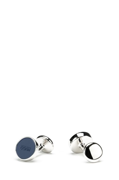 Round cufflinks with enamel core, Dark Blue