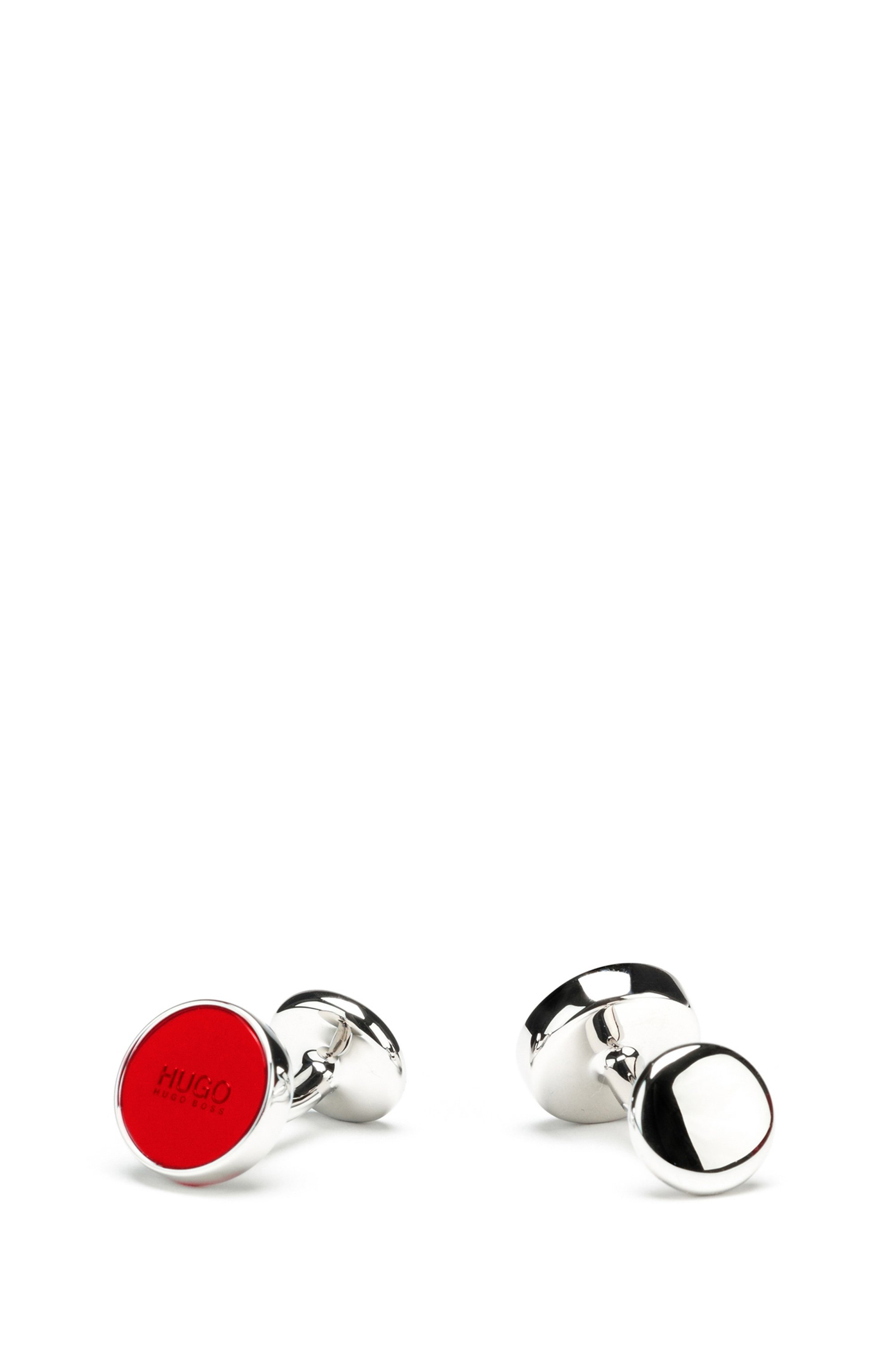 Round cufflinks with enamel core, Red