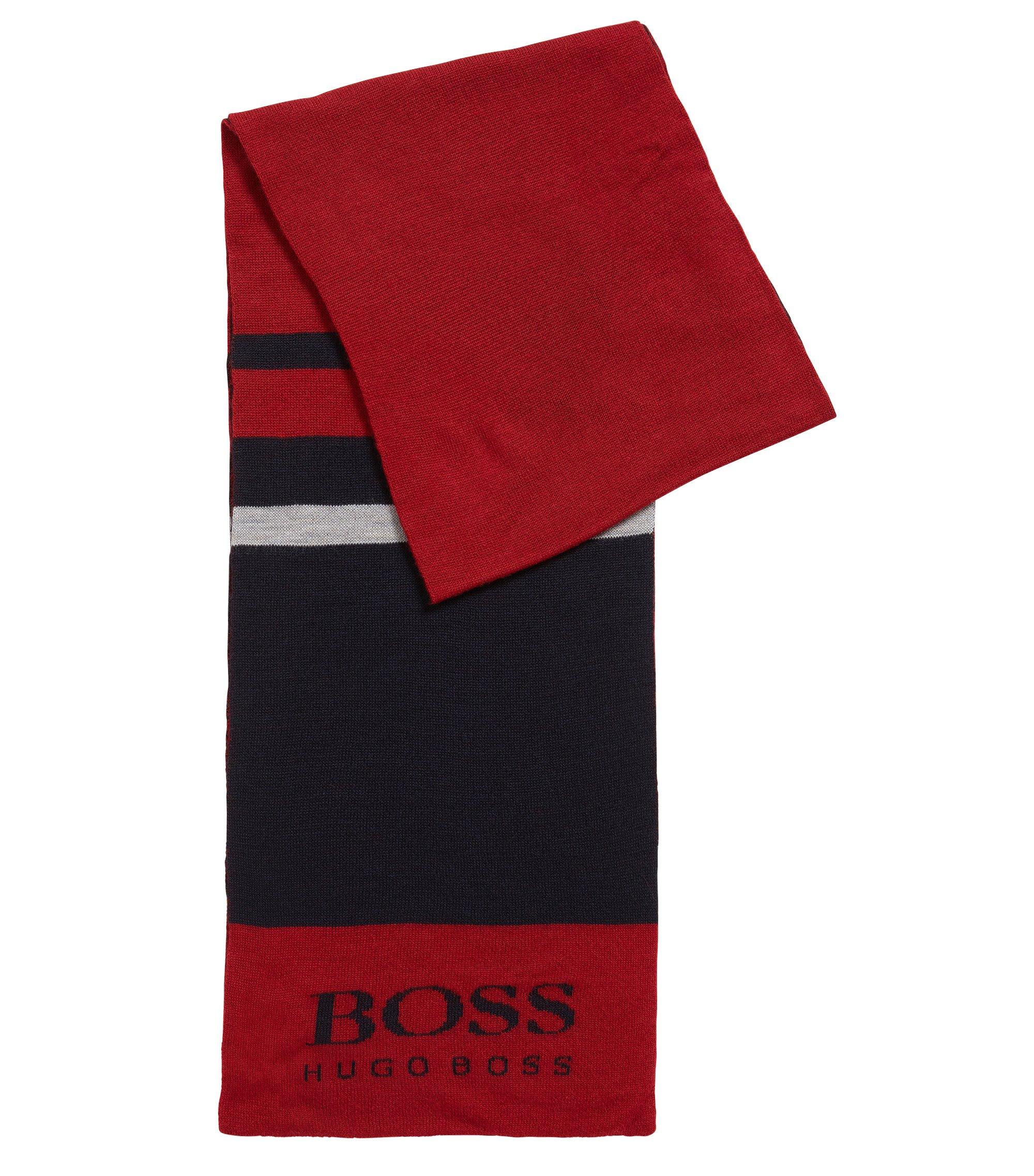 Sportieve sjaal van een wolmix met blokkleuren, Rood