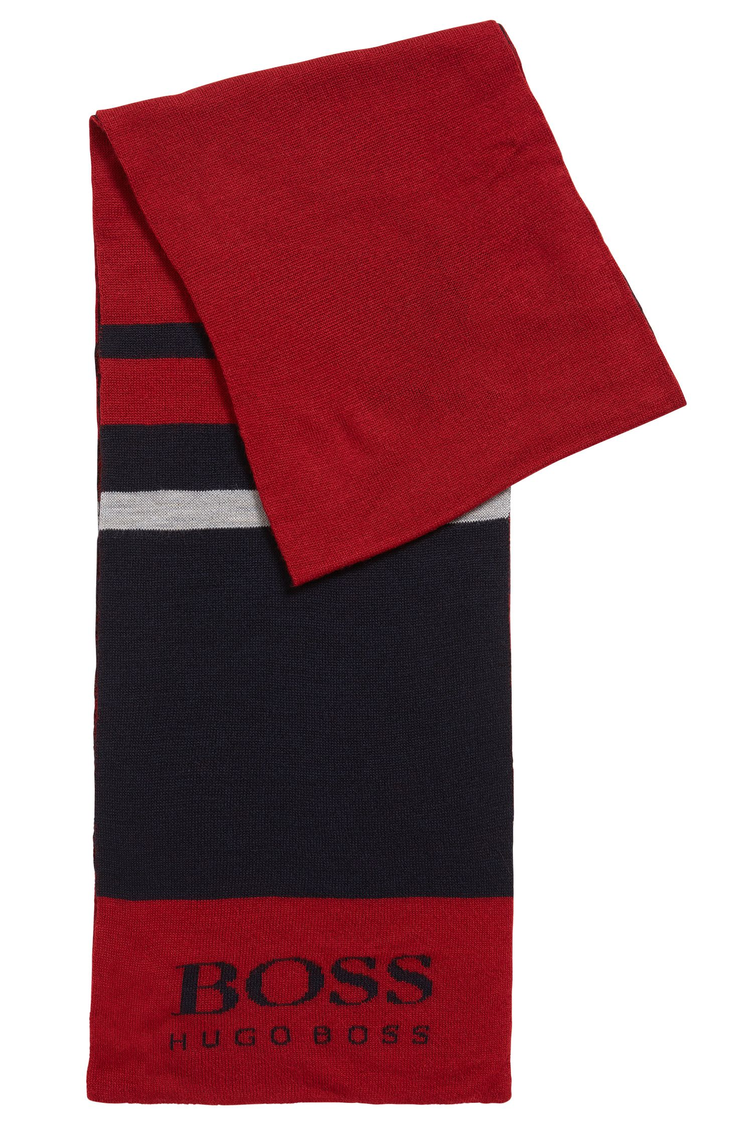 Sporty colourblock scarf in wool blend