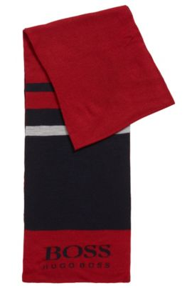 Sporty colourblock scarf in wool blend, Red
