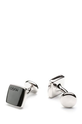 Square cufflinks in zinc with engraved logo: 'E-STAIN', Black