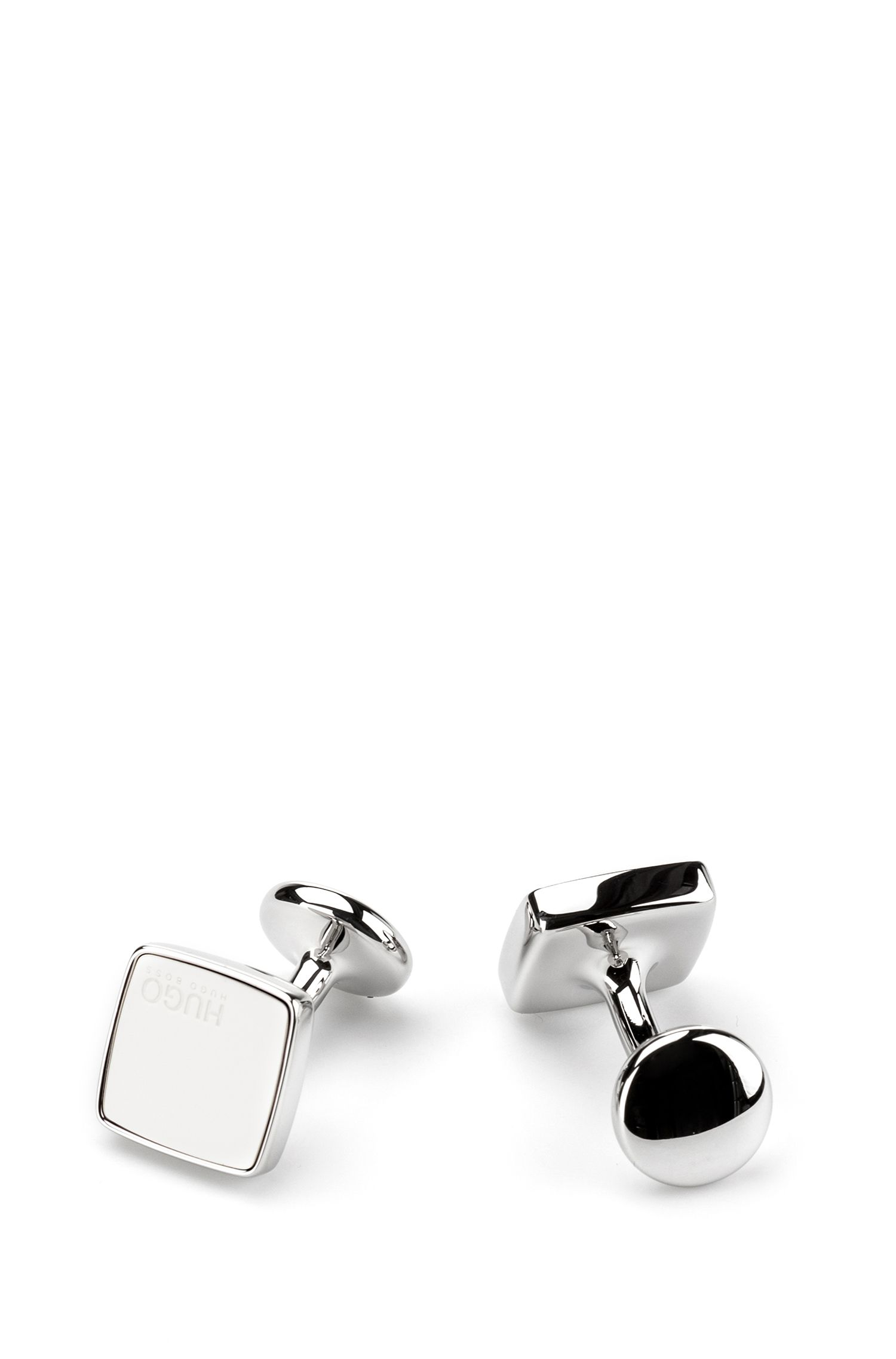 Square cufflinks with coloured enamel inserts, Open White