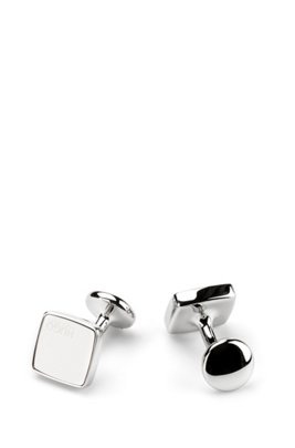 Square cufflinks with coloured enamel inserts, White