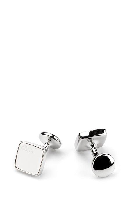 Viereckige Manschettenknöpfe aus Zink mit Emaille-Einsatz, Weiß