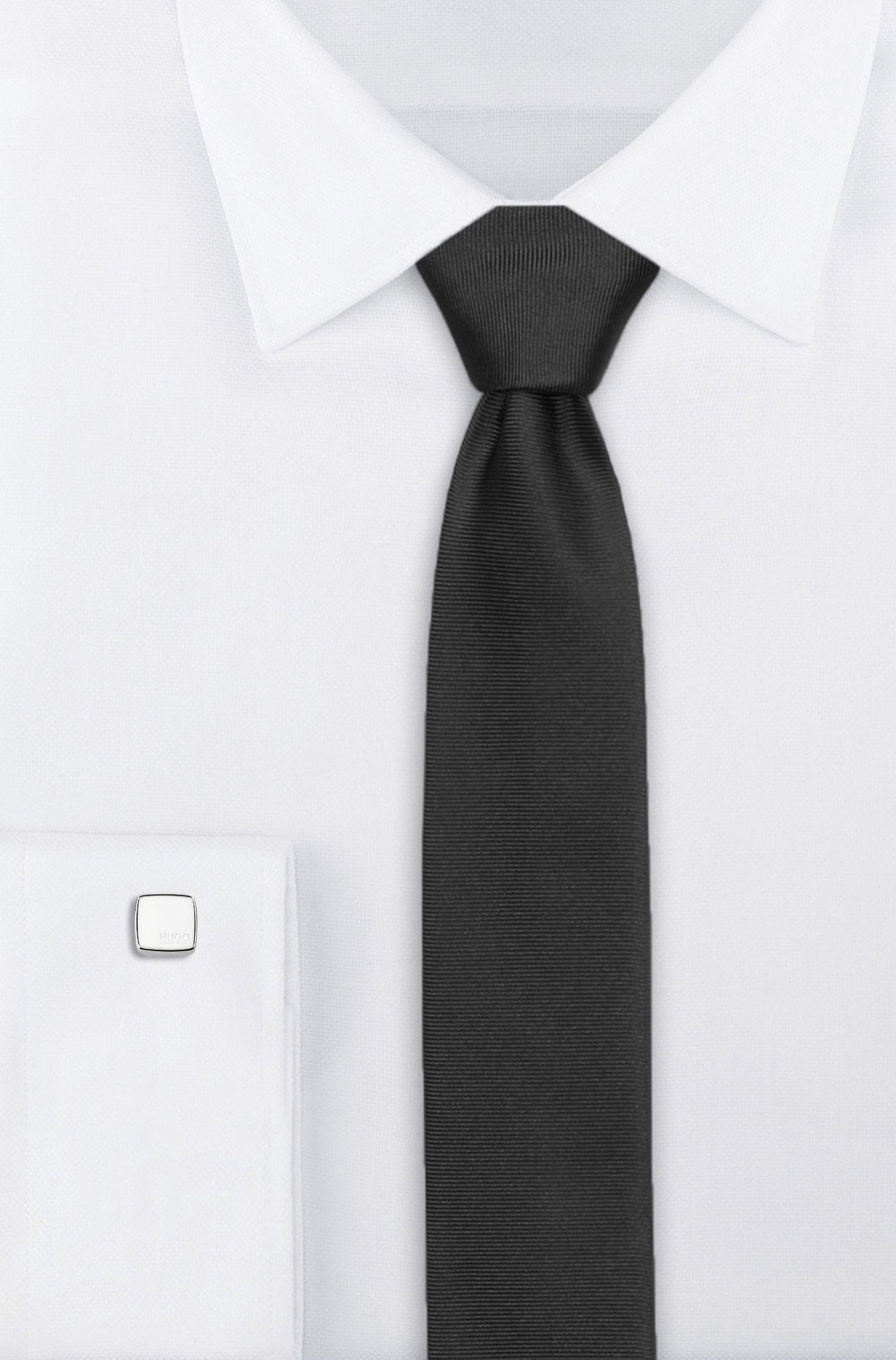 Boutons de manchette carrés avec inserts en émail coloré, Blanc