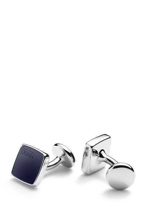 Square cufflinks with coloured enamel inserts, Dark Blue