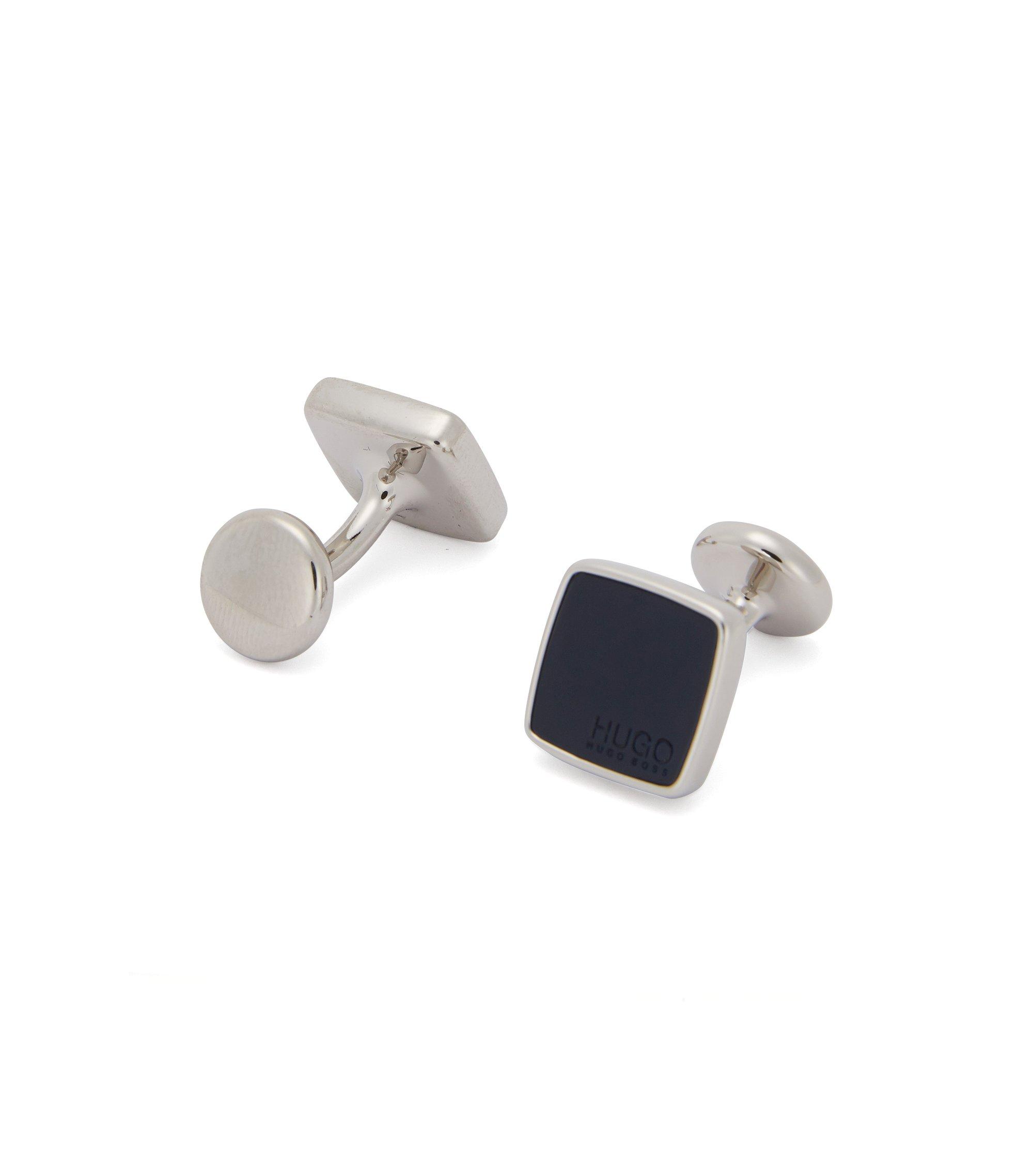 Square cufflinks with coloured enamel inserts, Dark Blue