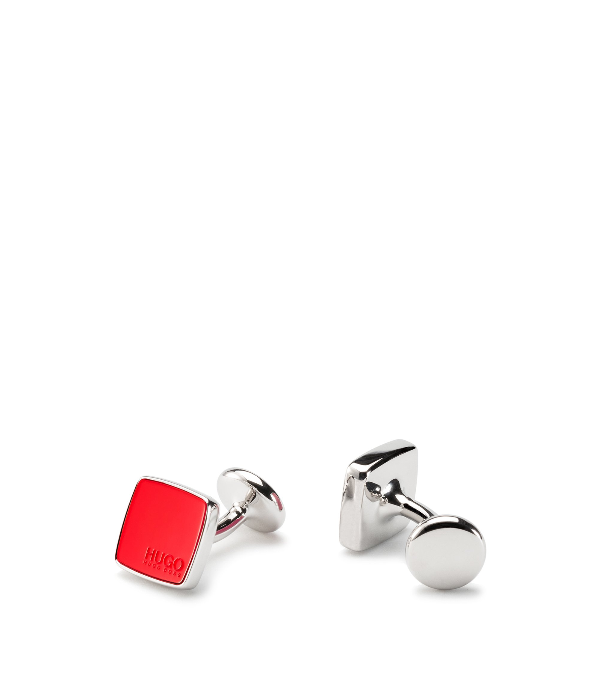 Square cufflinks with coloured enamel inserts, Red