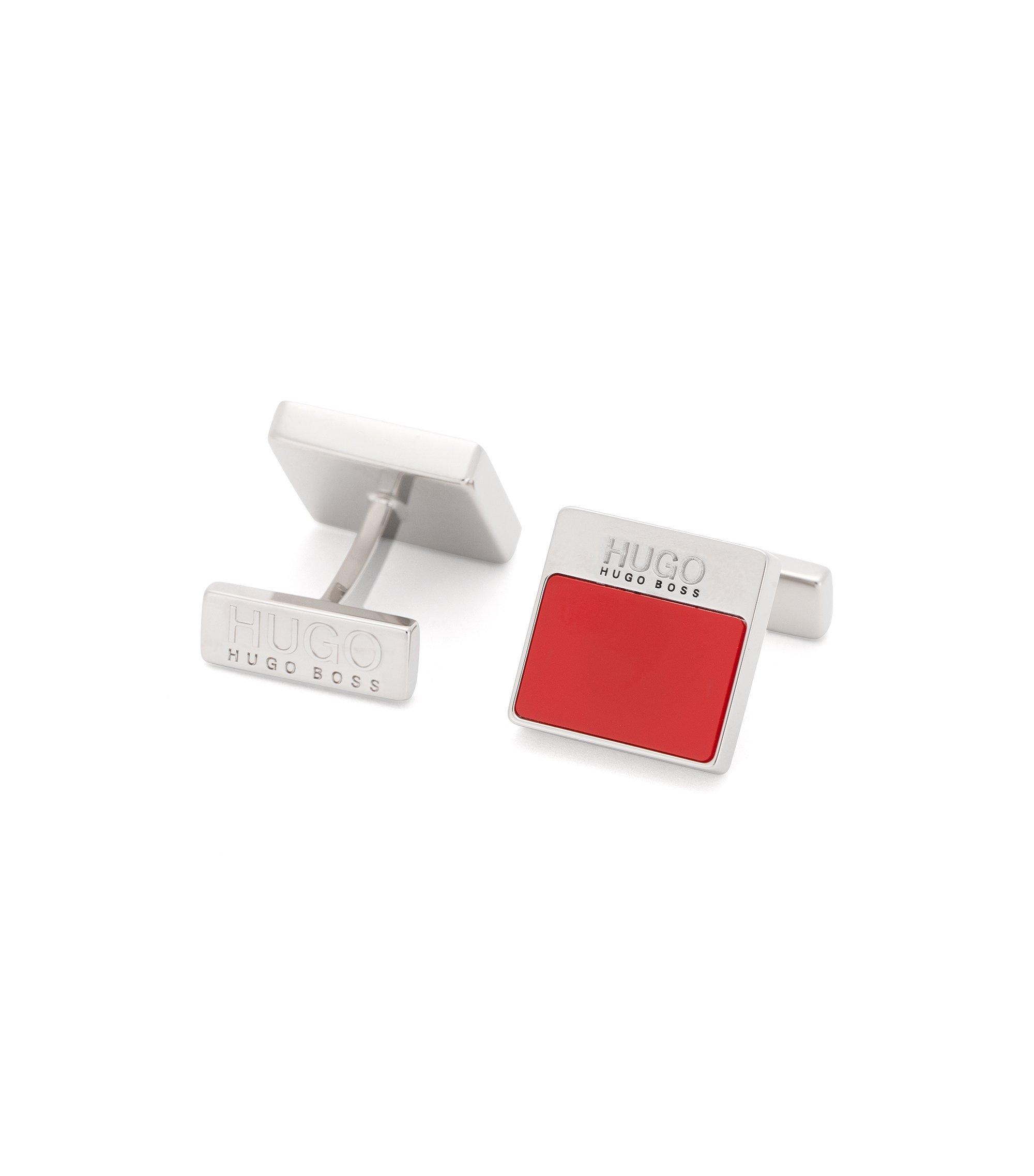 Manschettenknöpfe aus Messing mit farbigem Einsatz: 'E-Quadro', Rot
