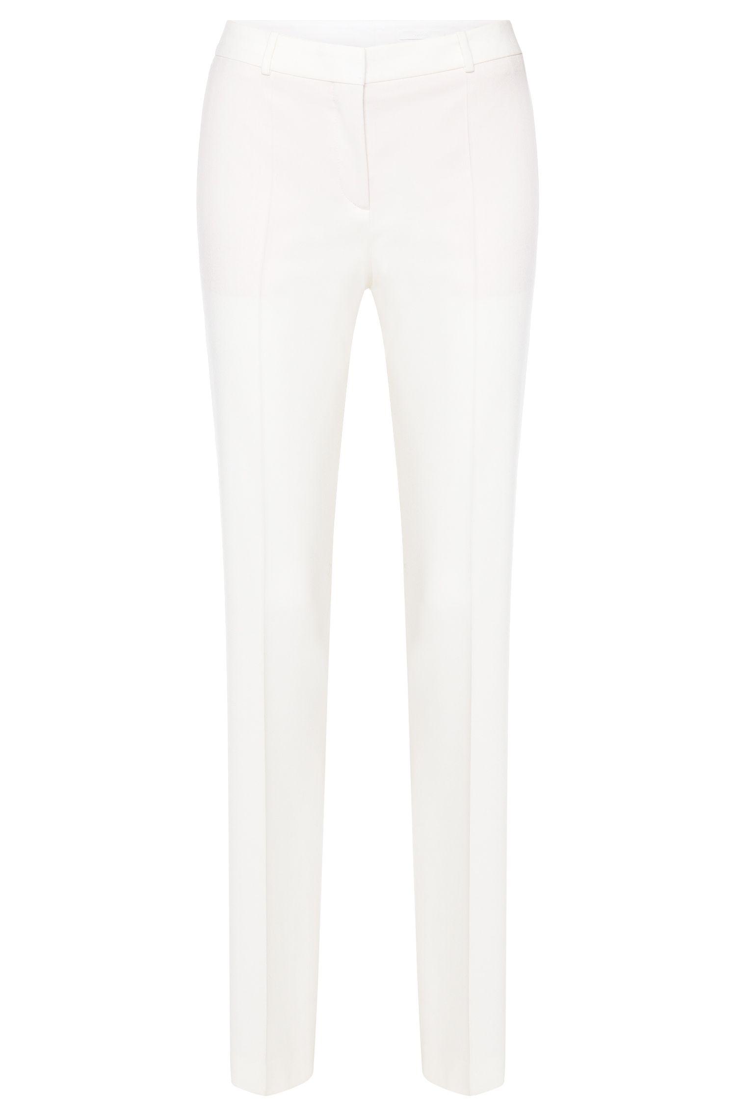 Standard-fit broek van scheerwol met stretch en scherpe vouwen: 'Tamea!'