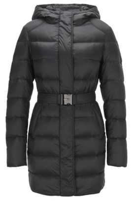 Regular-fit down jacket in water-repellent fabric, Black