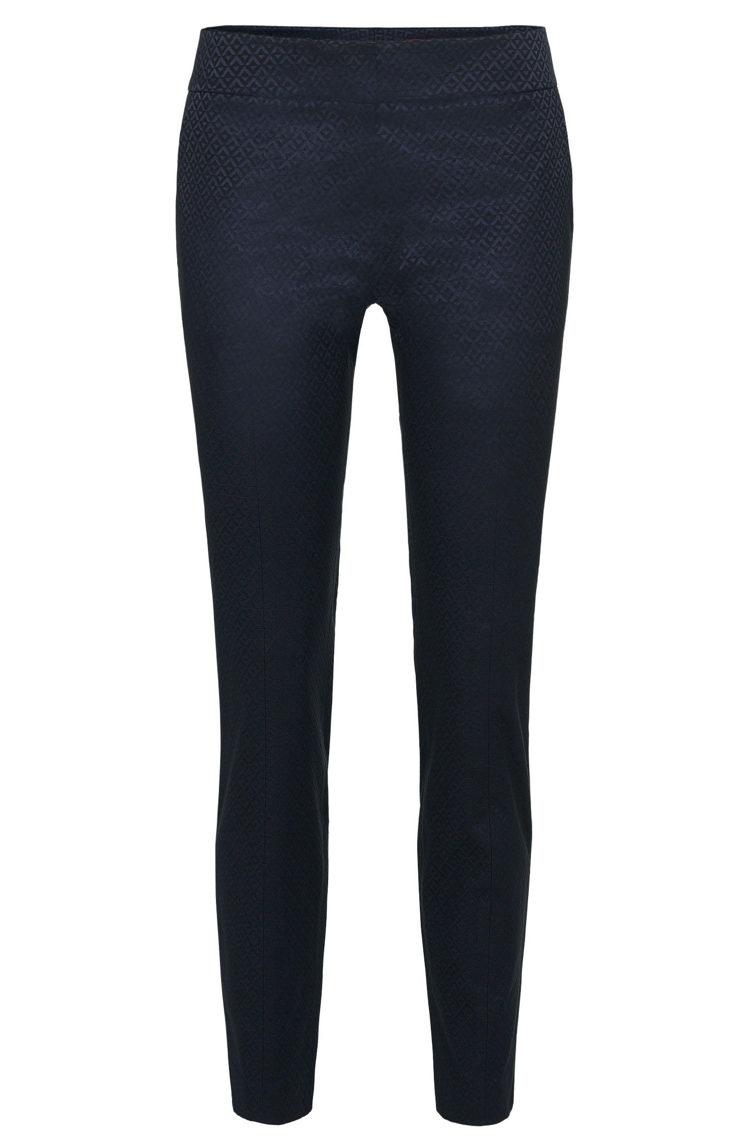 Graphically patterned trousers in cotton blend: 'Hevas-1'