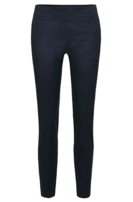Graphically patterned trousers in cotton blend: 'Hevas-1', Dark Blue