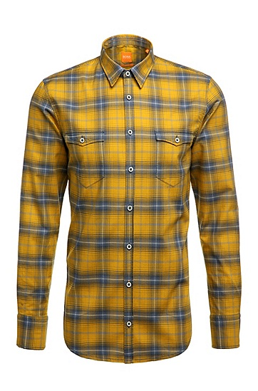 Slim-fit shirt in pure cotton with checks: 'EdoslimE', Dark Yellow