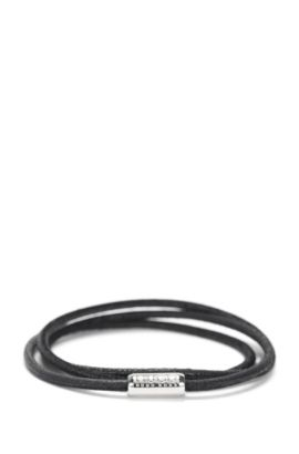 Narrow wrap-bracelet in leather: 'E-ELEMENT', Black