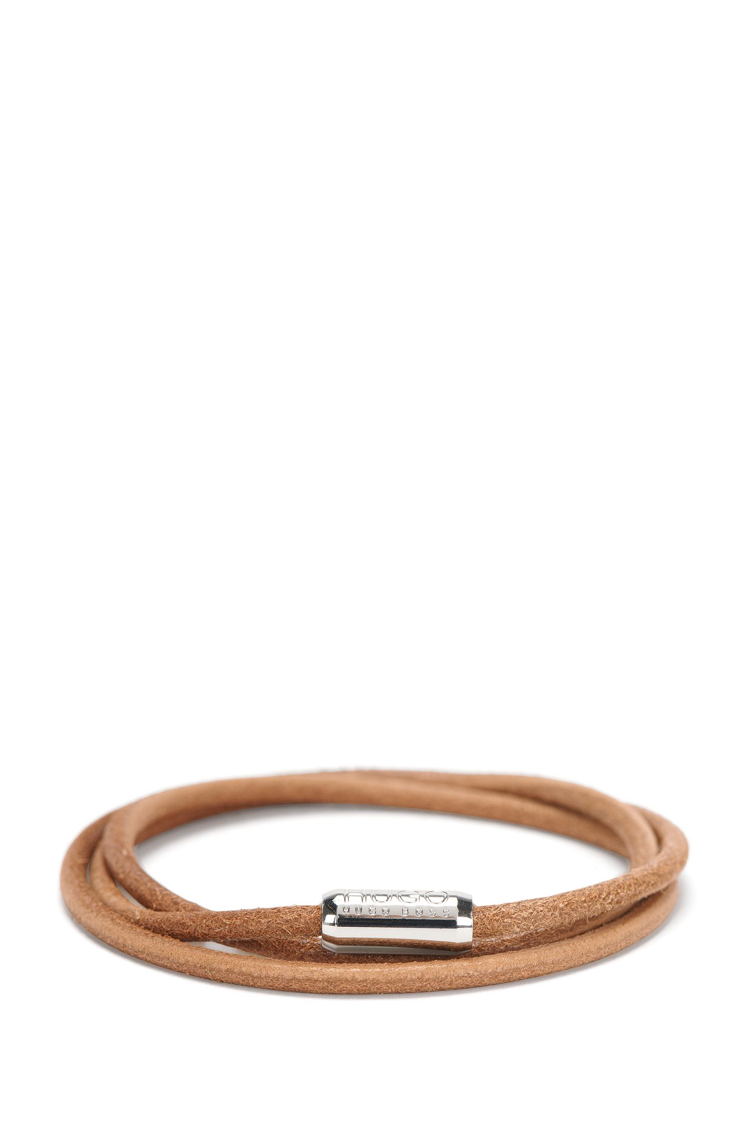 Narrow wrap-bracelet in leather: 'E-ELEMENT'