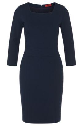 Kleid aus Viskose-Mix mit Karree-Ausschnitt: 'Kenive', Dunkelblau