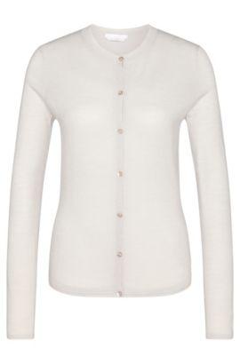 Plain cardigan in new wool: 'Fabra', Light Beige
