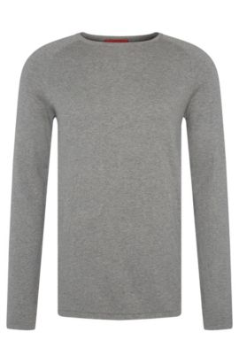 Slim-fit sweater in cotton blend with silk and cashmere: 'San Francisco', Grey