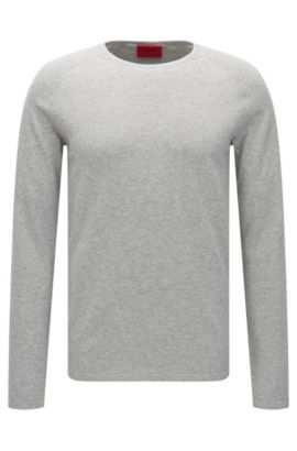 Slim-fit sweater in cotton blend with silk and cashmere: 'San Francisco', Open Grey