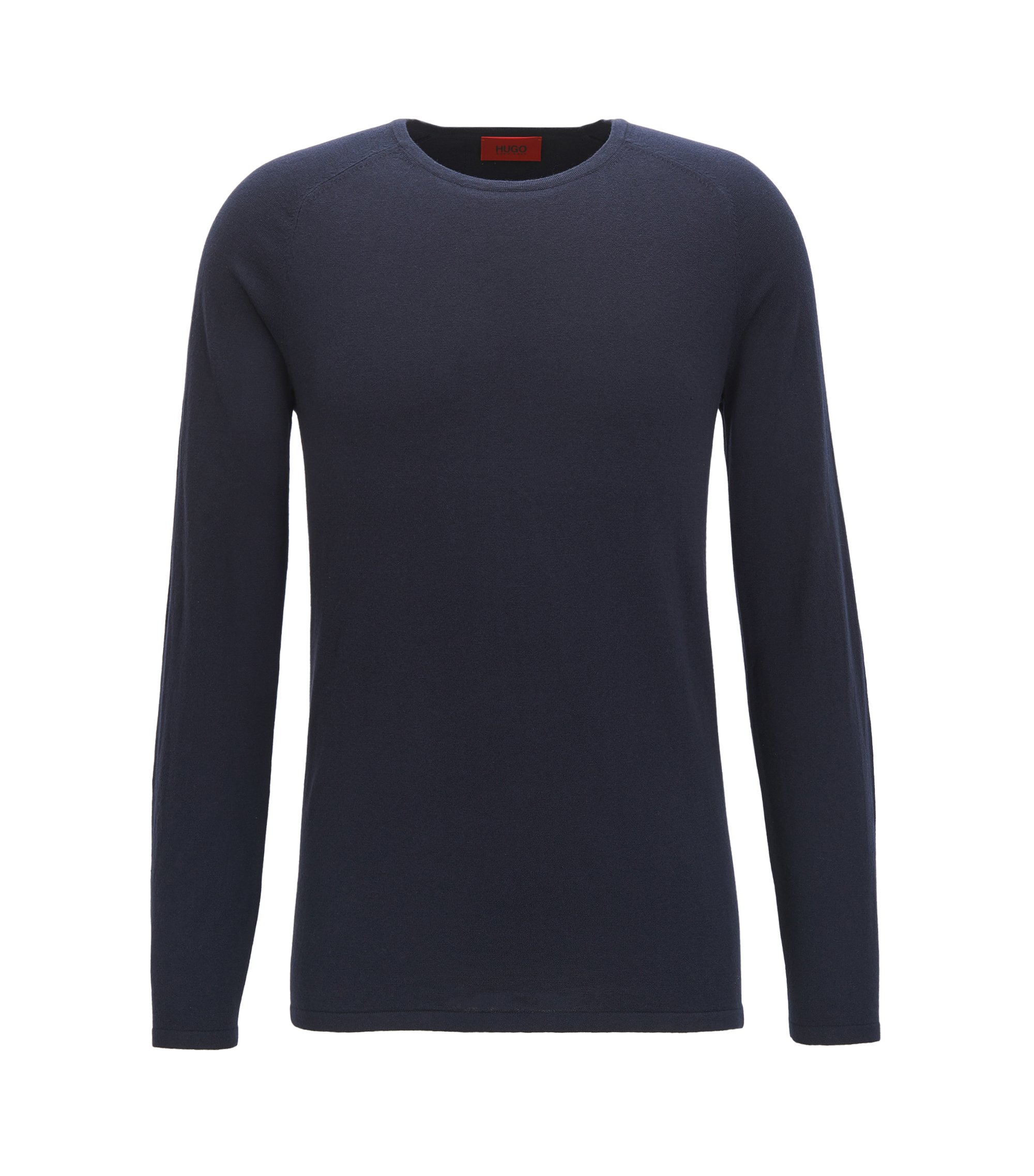 Slim-fit sweater in cotton blend with silk and cashmere: 'San Francisco', Dark Blue