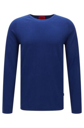 Slim-fit sweater in cotton blend with silk and cashmere: 'San Francisco', Blue
