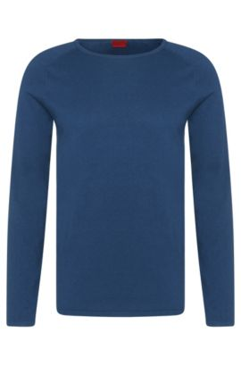 Slim-fit sweater in cotton blend with silk and cashmere: 'San Francisco', Open Blue