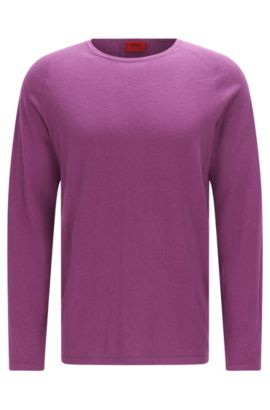 Slim-fit trui van een katoenmix met zijde en kasjmier: 'San Francisco', Lila