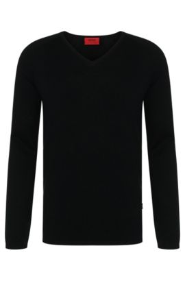 Sweater in a cotton blend with silk and cashmere: 'San Jose', Black