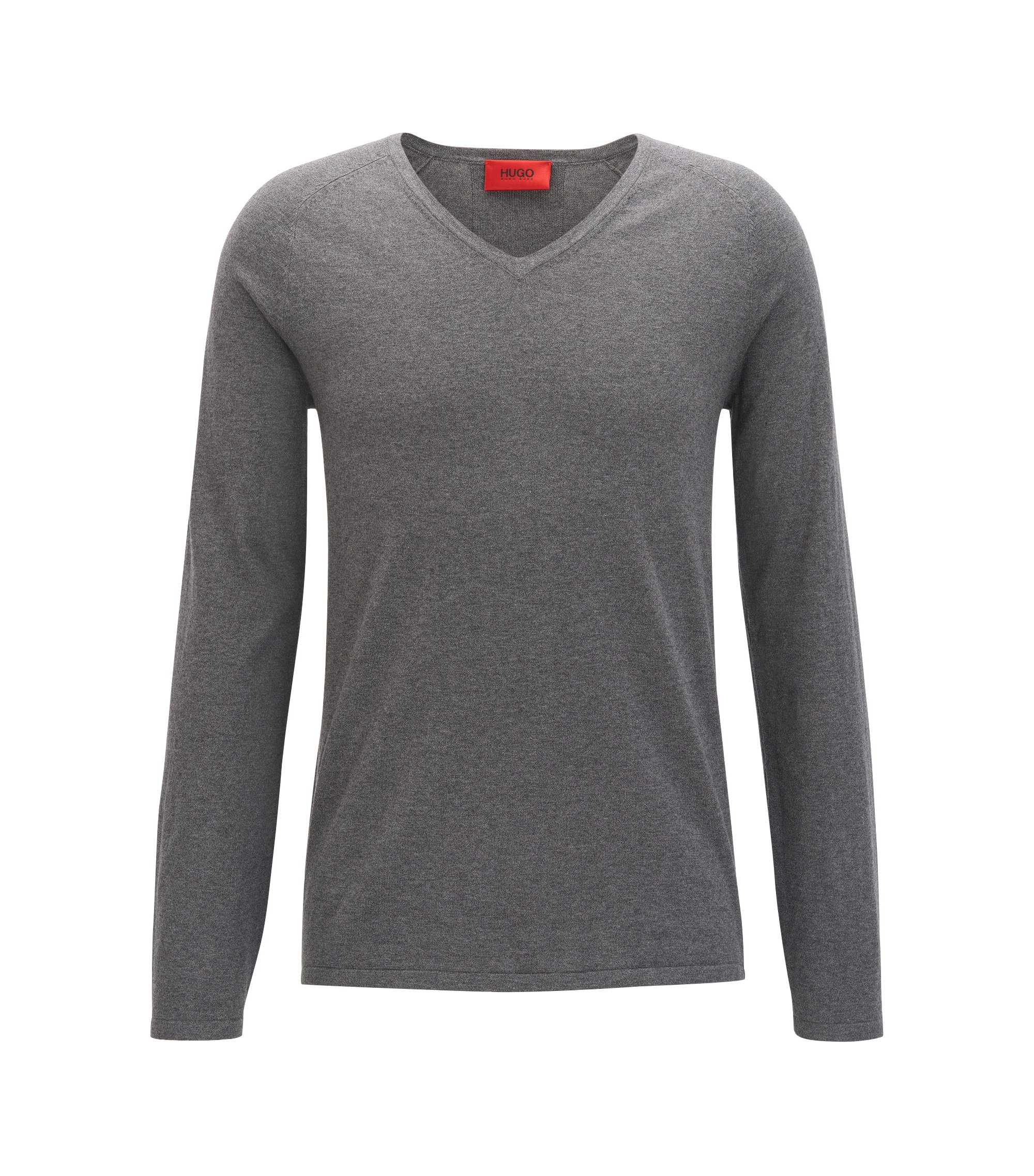 V-neck cotton-blend sweater with silk and cashmere , Grey