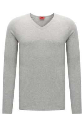 Sweater in a cotton blend with silk and cashmere: 'San Jose', Open Grey