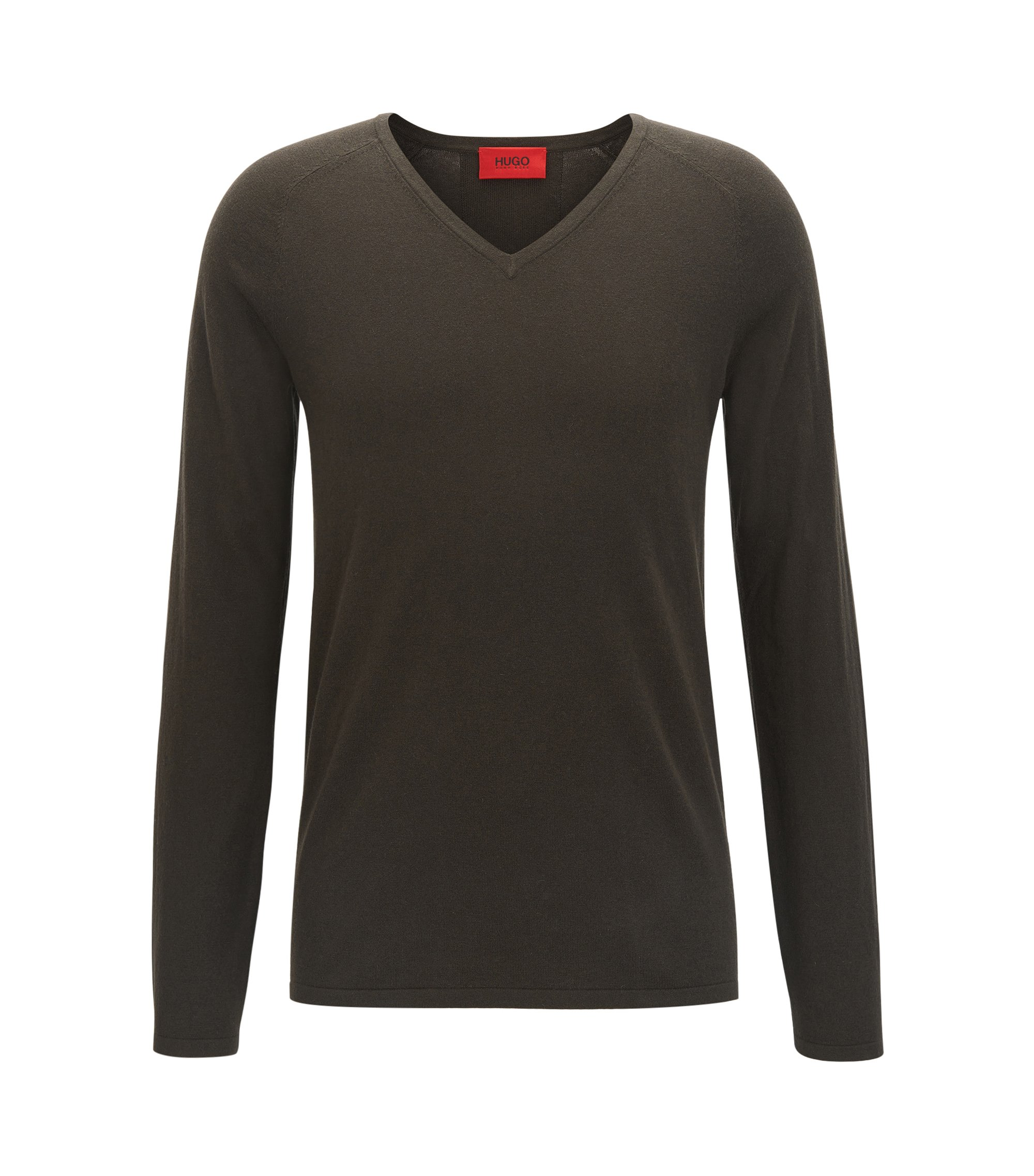 V-neck cotton-blend sweater with silk and cashmere , Dark Green