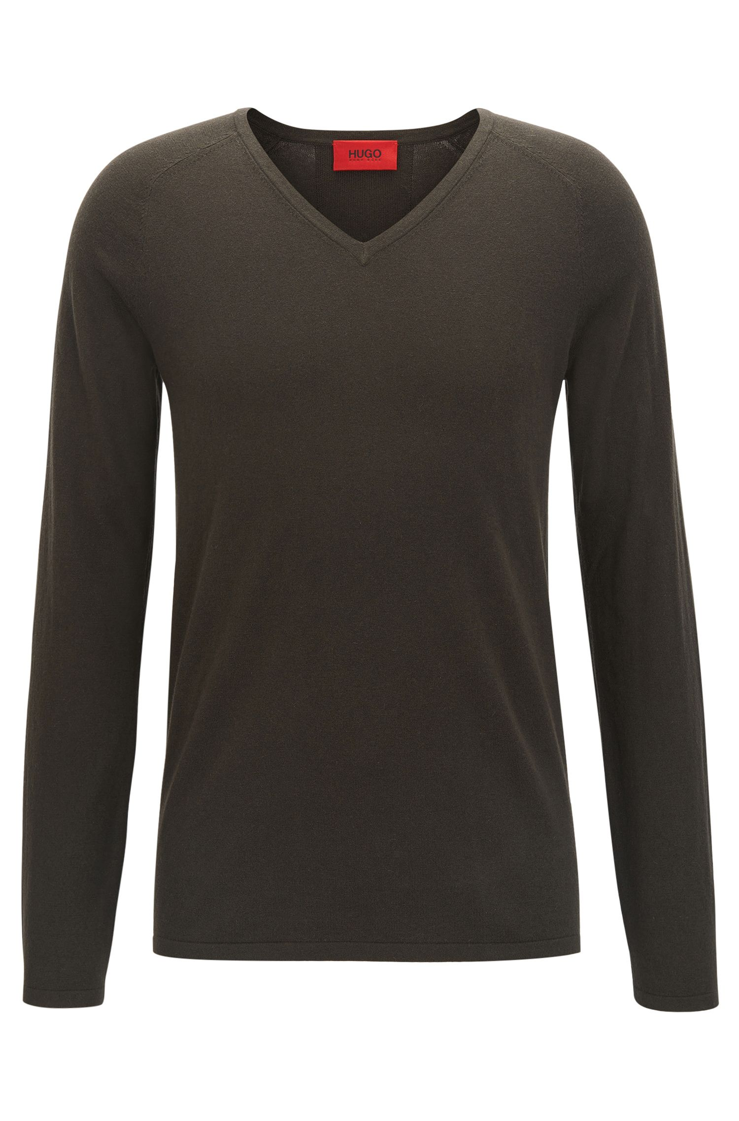 V-neck cotton-blend sweater with silk and cashmere
