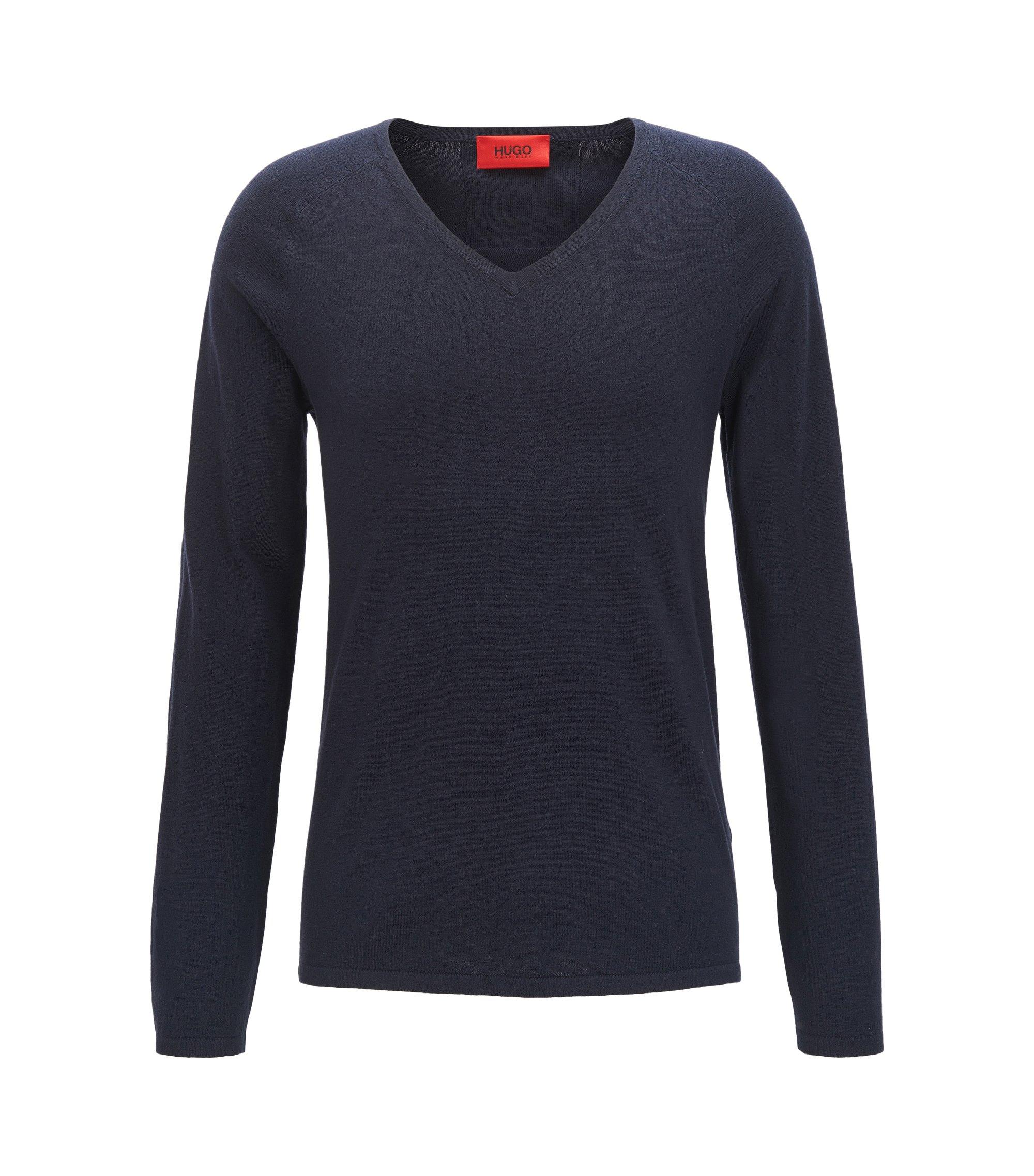Pullover aus Baumwoll-Mix mit Seide und Kaschmir mit V-Ausschnitt , Dunkelblau