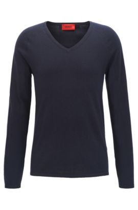 Sweater in a cotton blend with silk and cashmere: 'San Jose', Dark Blue