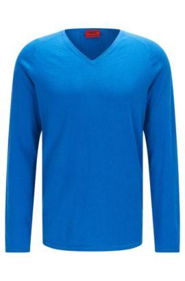 Pull en coton mélangé à de la soie et du cachemire: «San Jose», Bleu