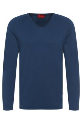 Sweater in a cotton blend with silk and cashmere: 'San Jose', Open Blue