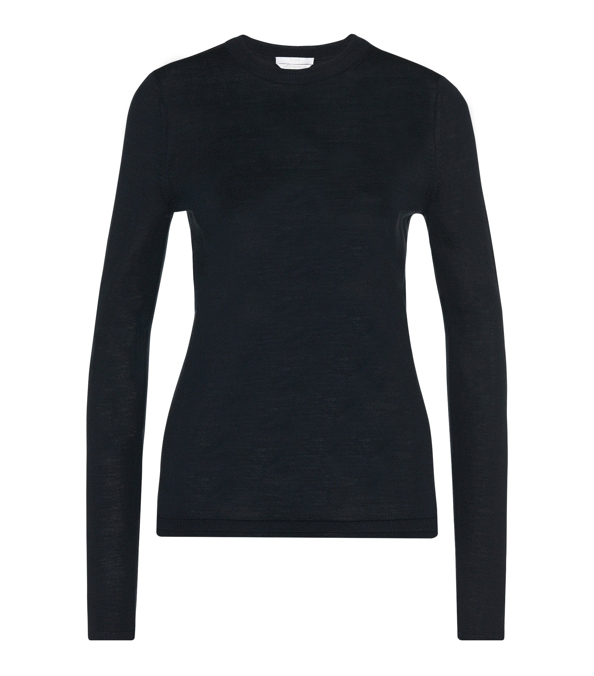 Long-sleeved sweater in mercerised virgin wool, Dark Blue