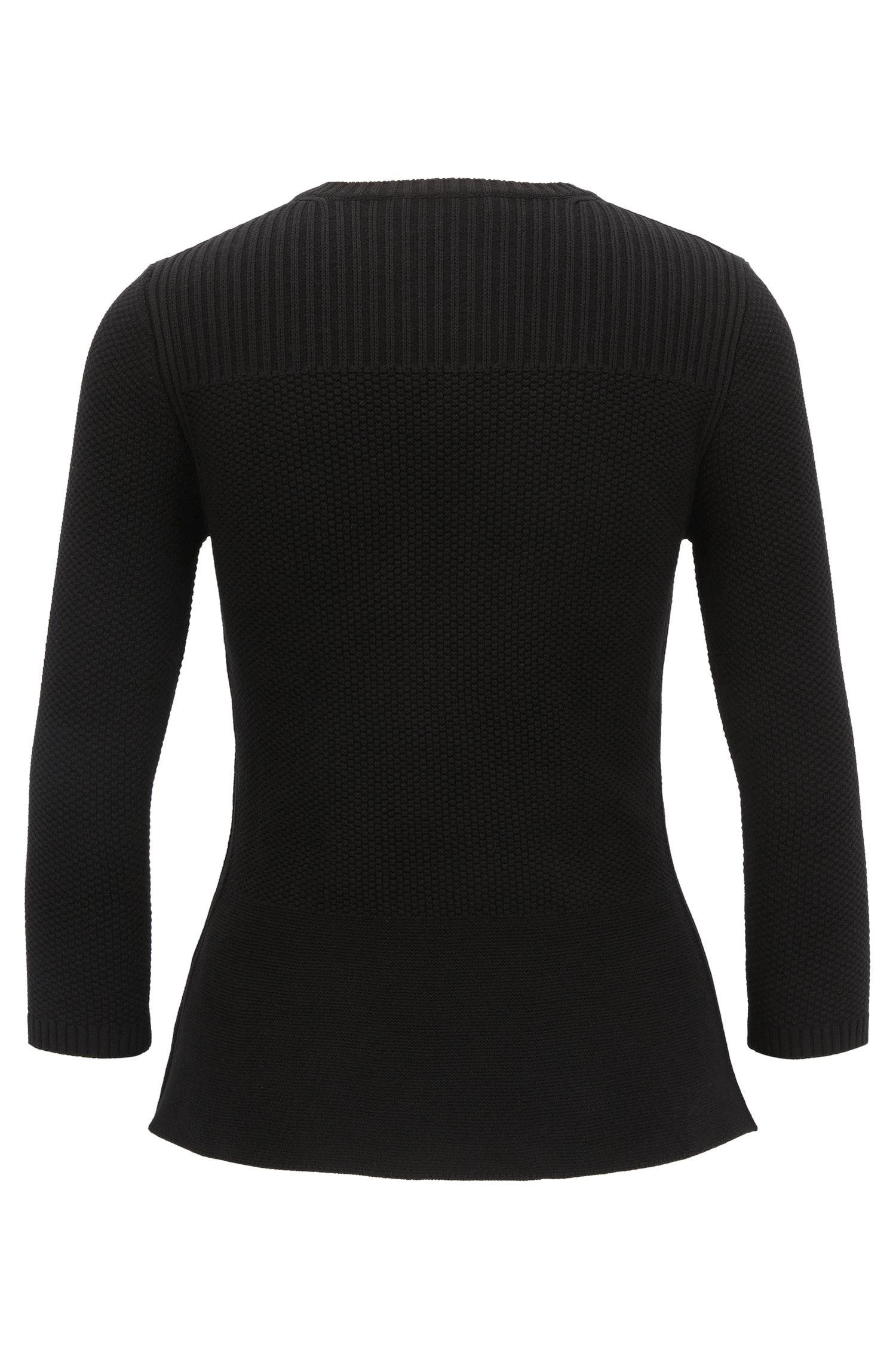 Pullover aus Material-Mix mit Schößchen und 3/4-Ärmeln